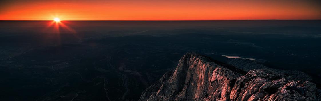Couchée de soleil en montagnes